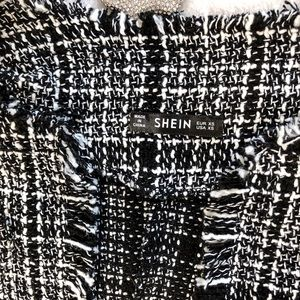 Skirts - Black and White Tweed Skirt and Jacket Set